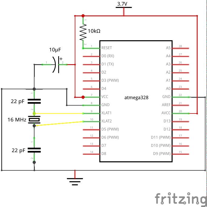Schéma Arduino minimal