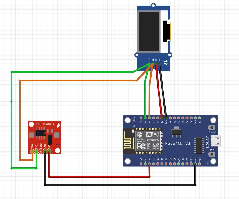 """NodeMCU ESP8266 module RTC3231 et OLED 0.96"""""""