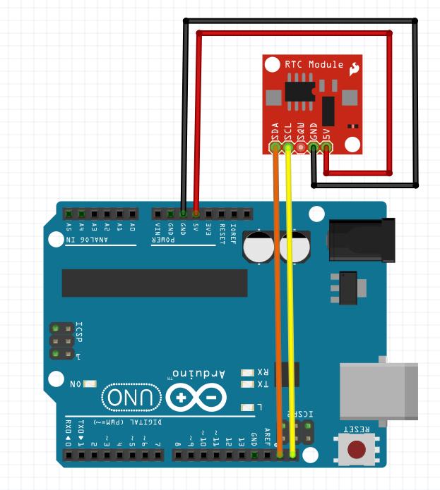 Schéma câblage module RTC Arduino Uno